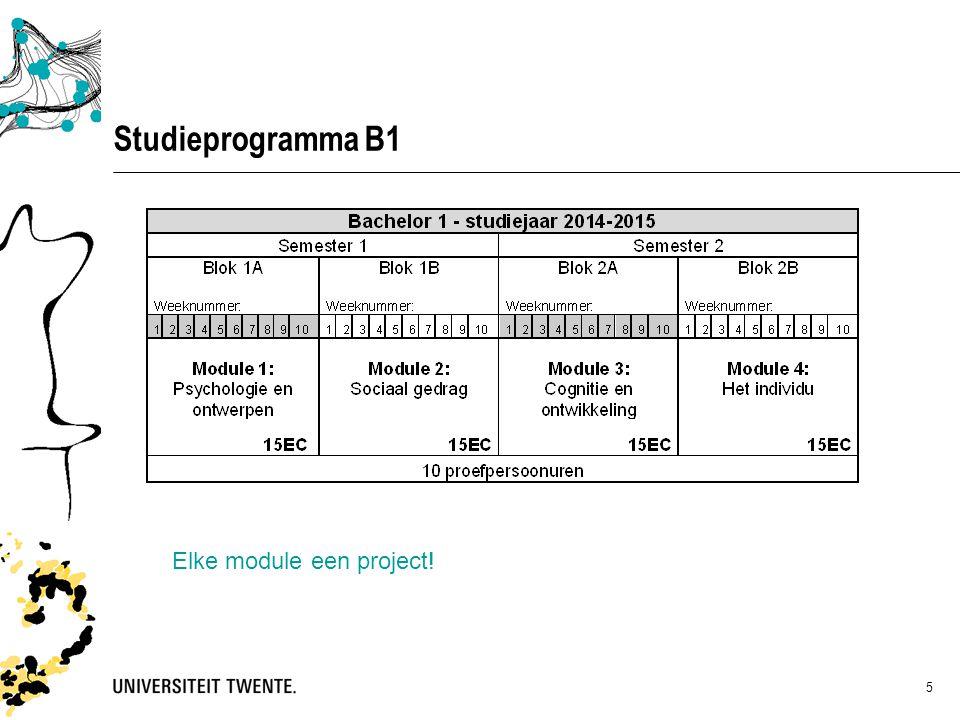 Studieprogramma B1 Elke module een project!