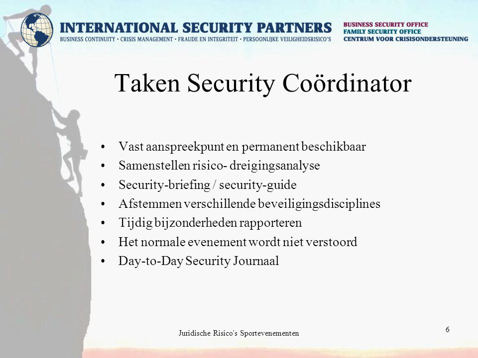 Taken Security Coördinator