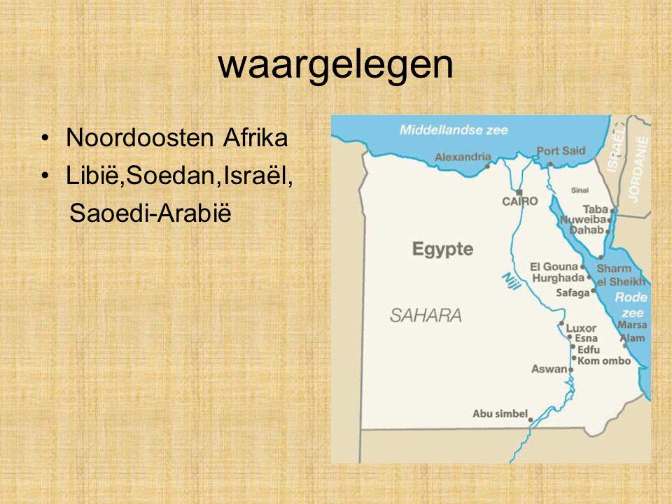 waargelegen Noordoosten Afrika Libië,Soedan,Israël, Saoedi-Arabië