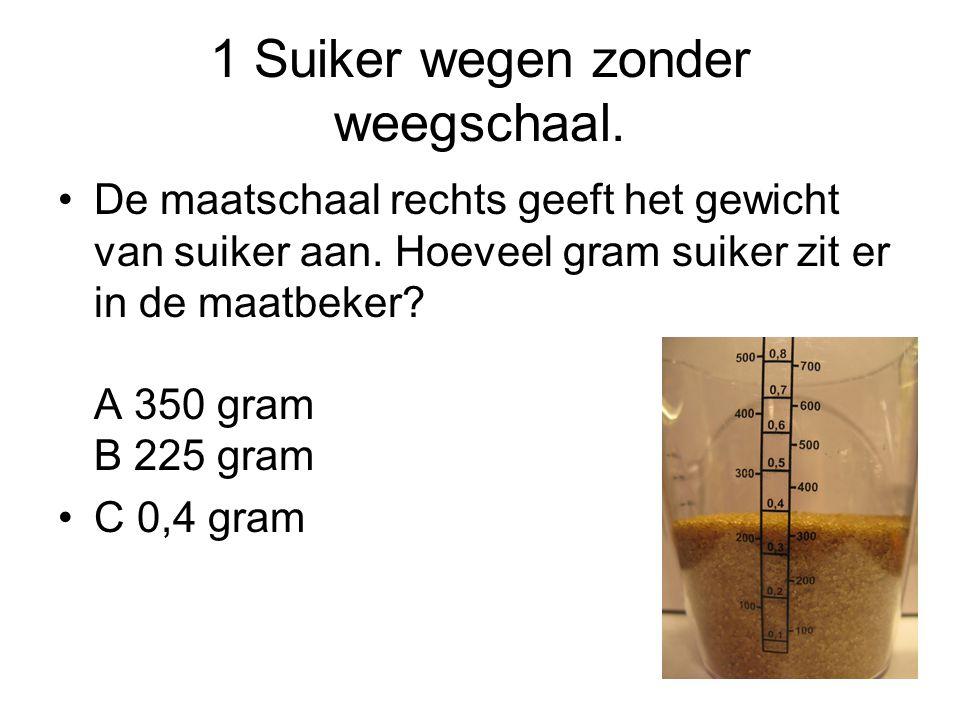 1 Suiker wegen zonder weegschaal.