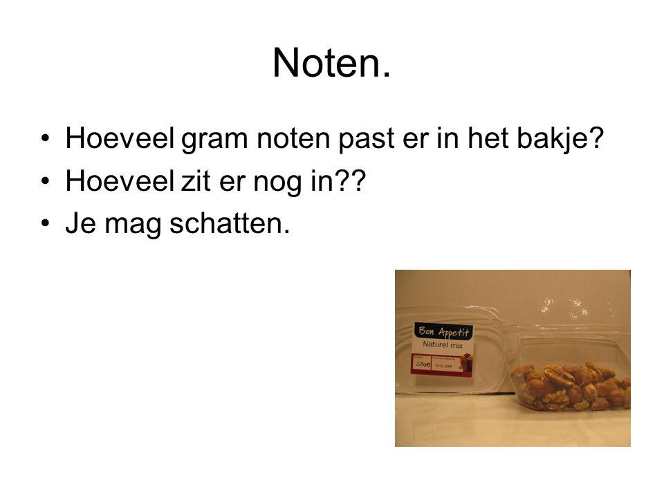 Noten. Hoeveel gram noten past er in het bakje
