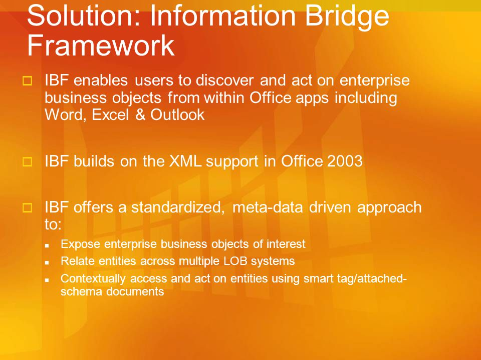 Solution: Information Bridge Framework