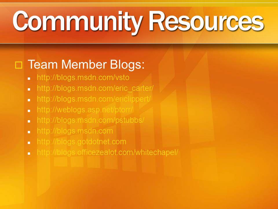 Team Member Blogs: http://blogs.msdn.com/vsto