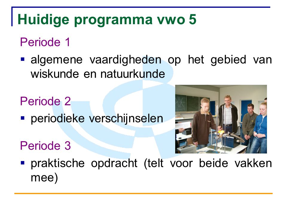 Huidige programma vwo 5 Periode 1
