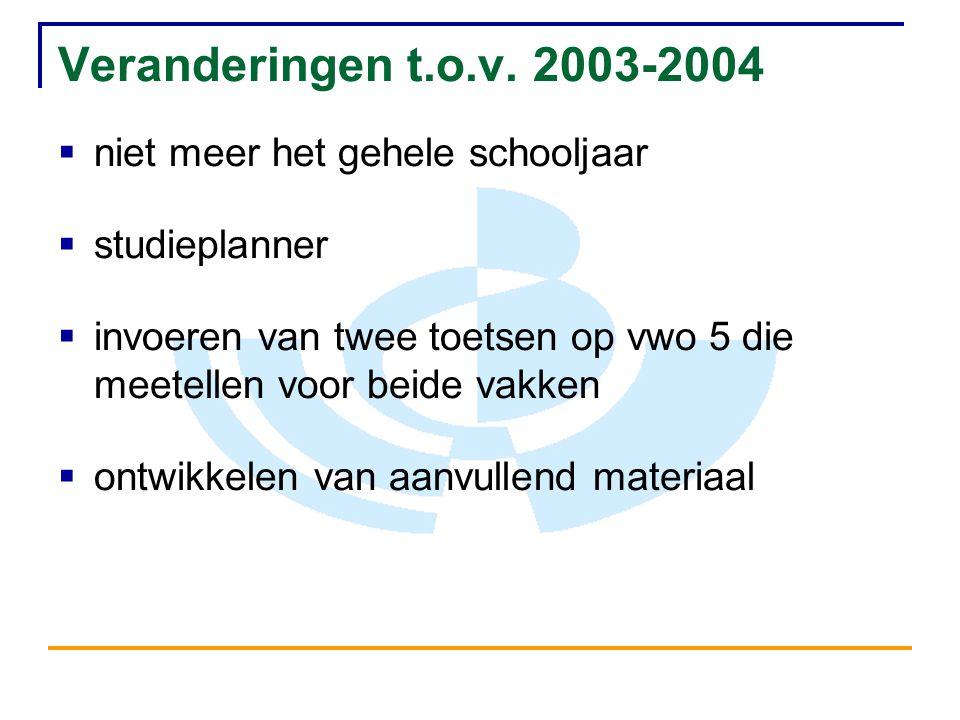 Veranderingen t.o.v. 2003-2004 niet meer het gehele schooljaar