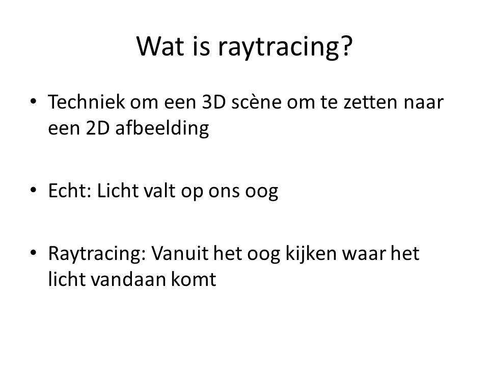 Wat is raytracing Techniek om een 3D scène om te zetten naar een 2D afbeelding. Echt: Licht valt op ons oog.