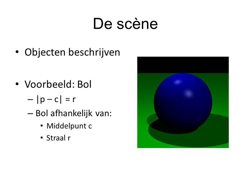 De scène Objecten beschrijven Voorbeeld: Bol |p – c| = r
