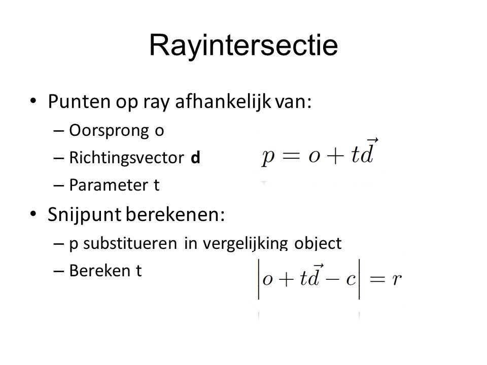 Rayintersectie Punten op ray afhankelijk van: Snijpunt berekenen: