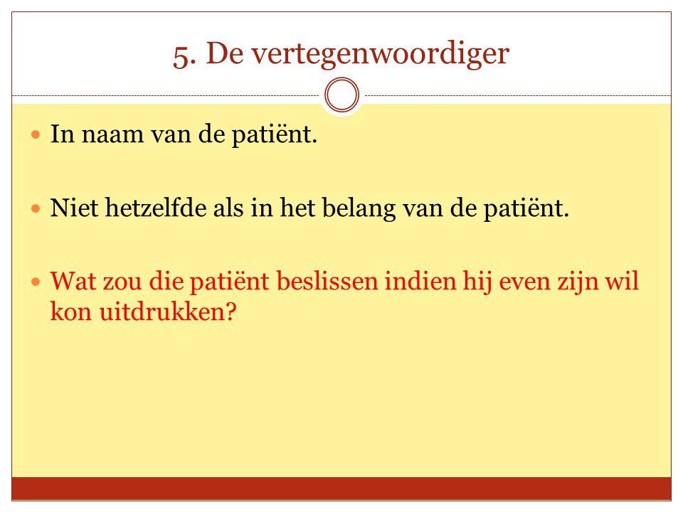 5. De vertegenwoordiger In naam van de patiënt.
