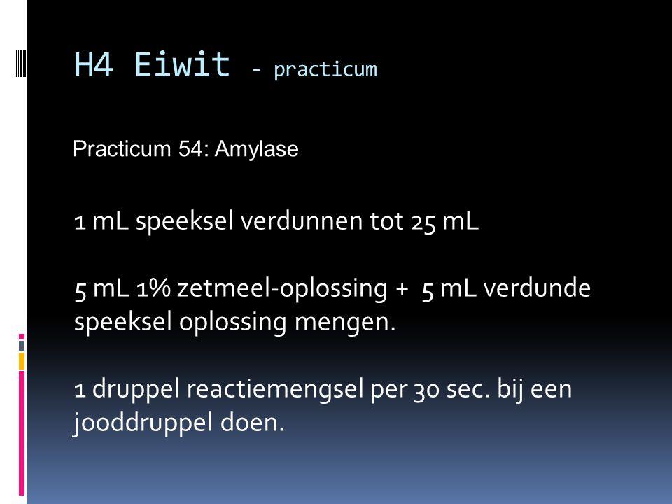 H4 Eiwit - practicum 1 mL speeksel verdunnen tot 25 mL