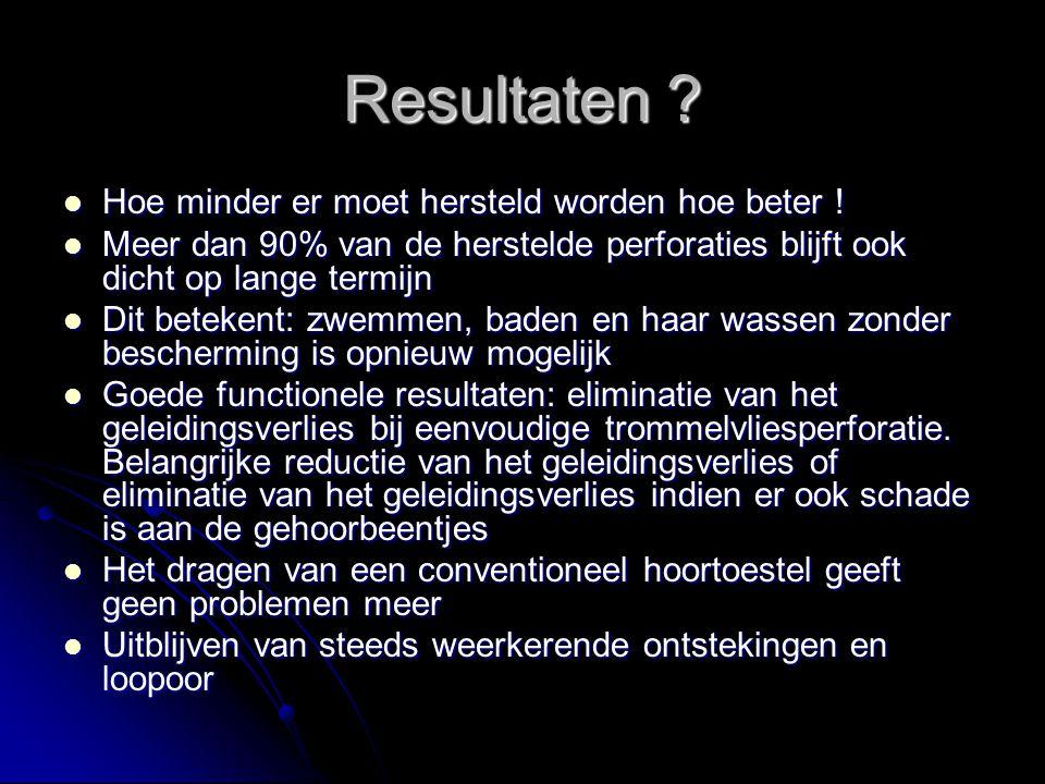 Resultaten Hoe minder er moet hersteld worden hoe beter !