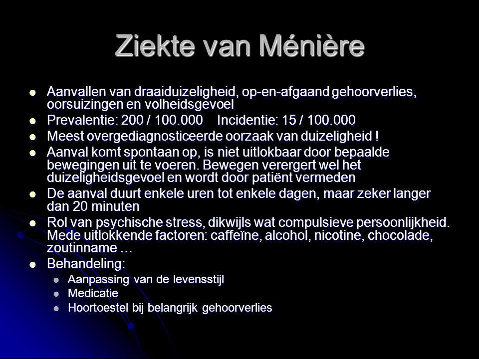 Ziekte van Ménière Aanvallen van draaiduizeligheid, op-en-afgaand gehoorverlies, oorsuizingen en volheidsgevoel.