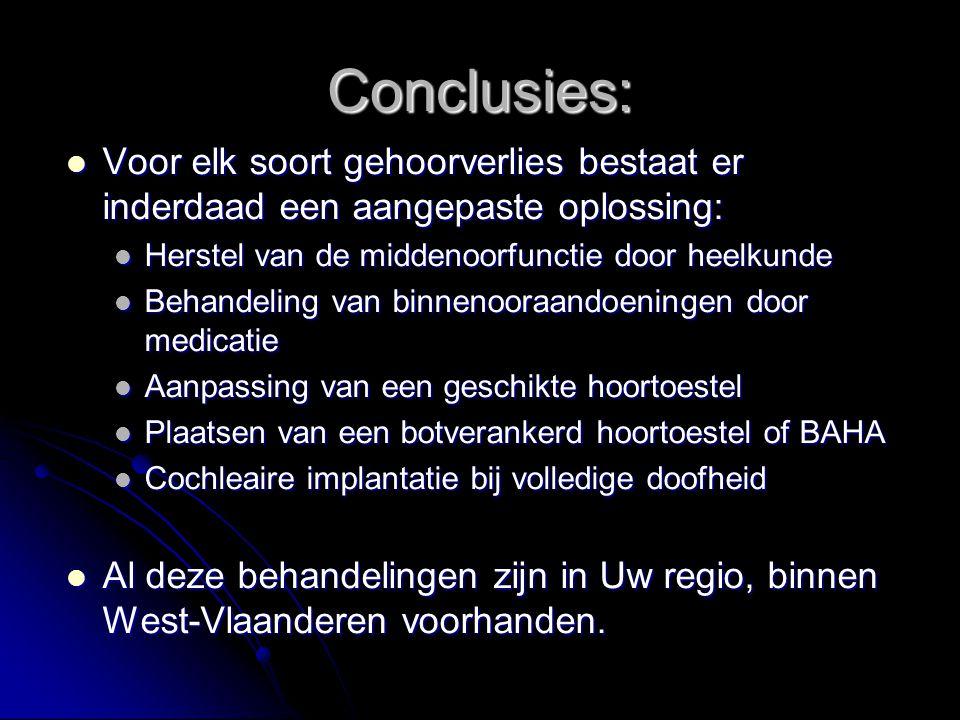 Conclusies: Voor elk soort gehoorverlies bestaat er inderdaad een aangepaste oplossing: Herstel van de middenoorfunctie door heelkunde.