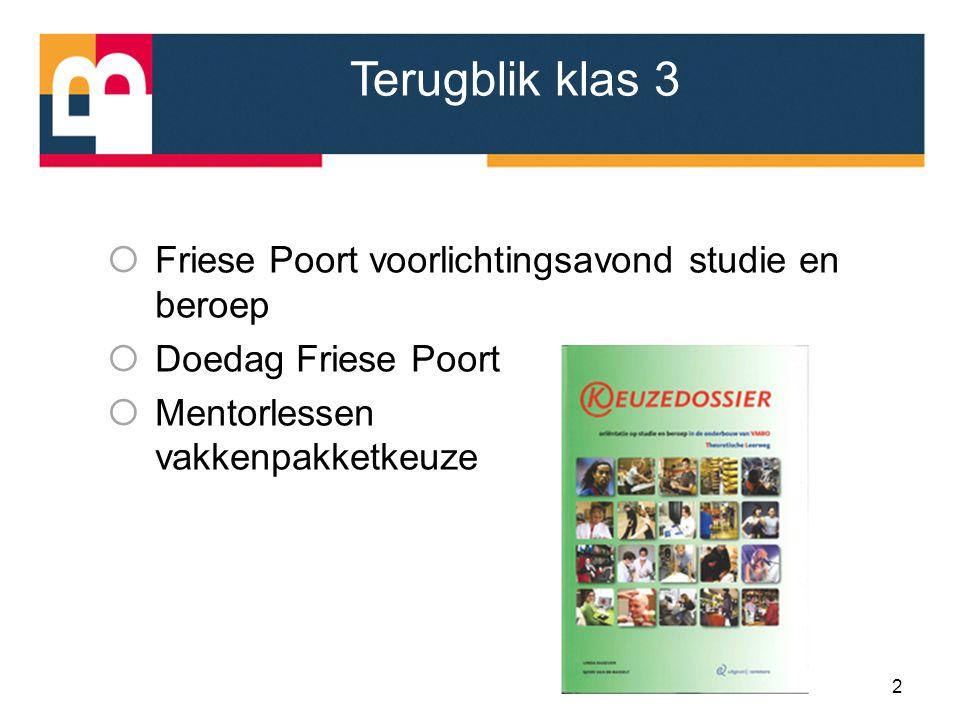 Terugblik klas 3 Friese Poort voorlichtingsavond studie en beroep