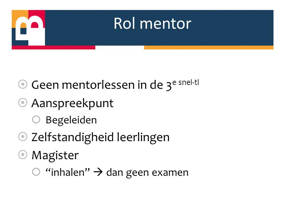 Rol mentor Geen mentorlessen in de 3e snel-tl Aanspreekpunt