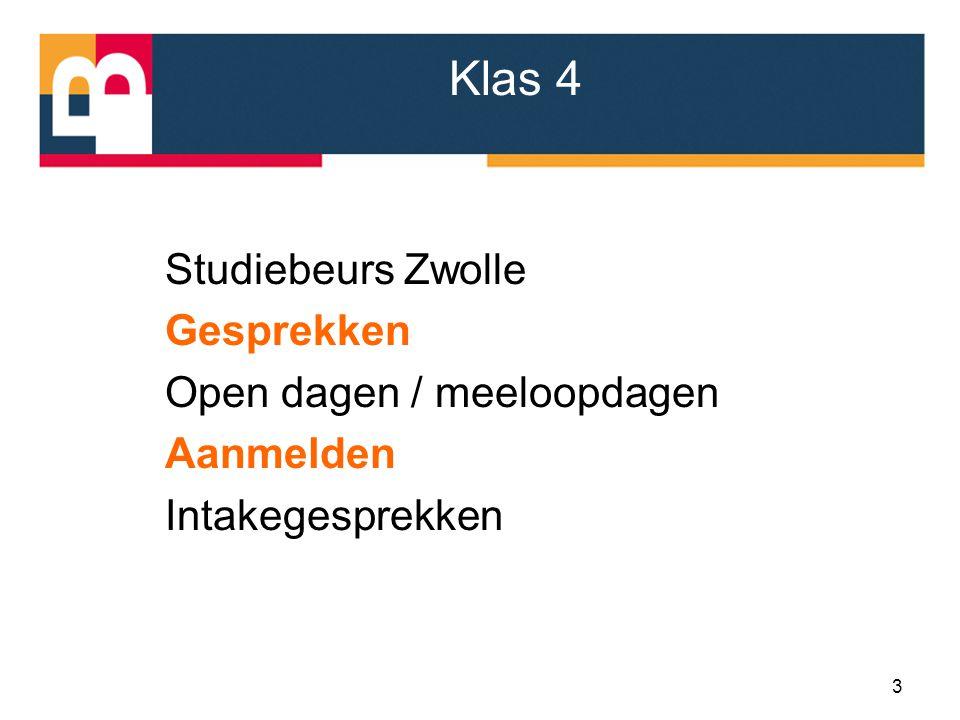 Klas 4 Studiebeurs Zwolle Gesprekken Open dagen / meeloopdagen Aanmelden Intakegesprekken