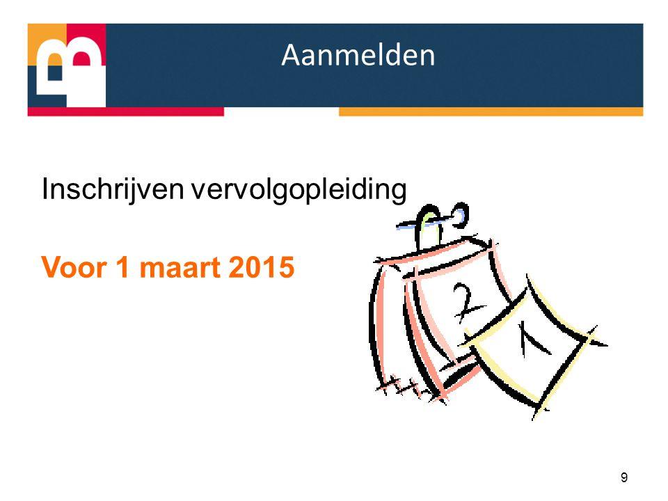 Aanmelden Inschrijven vervolgopleiding Voor 1 maart 2015