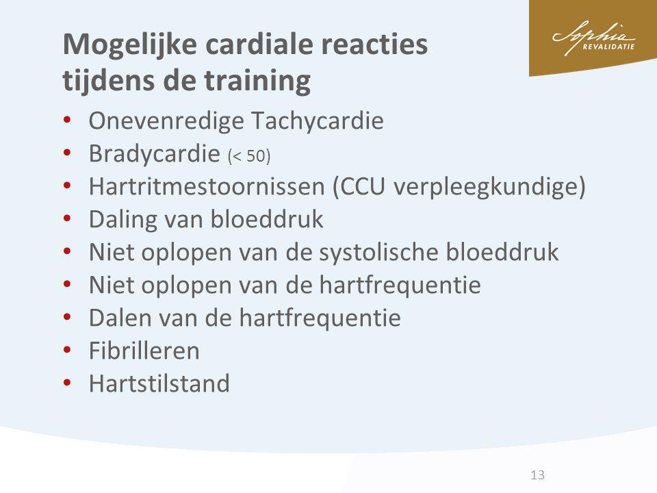 Mogelijke cardiale reacties tijdens de training