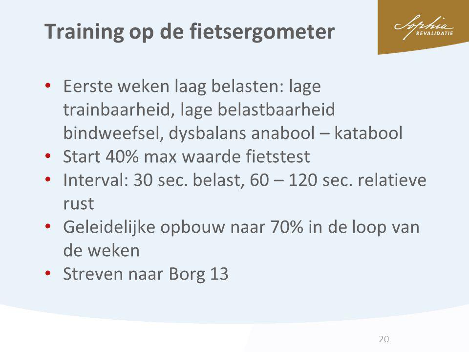 Training op de fietsergometer