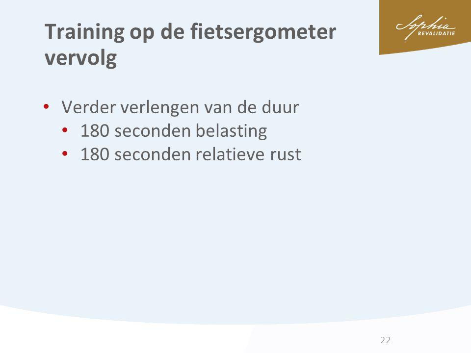 Training op de fietsergometer vervolg