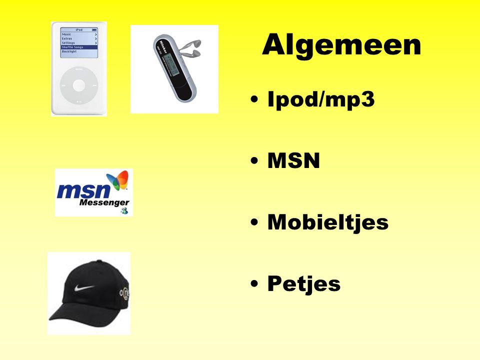 Algemeen Ipod/mp3 MSN Mobieltjes Petjes