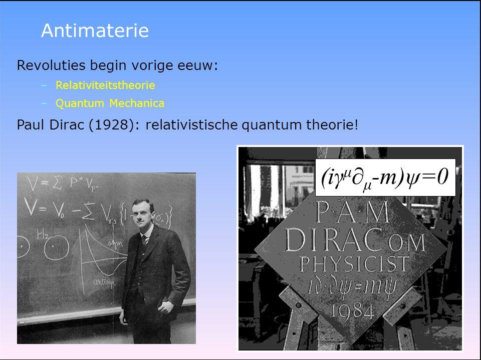 (iγμ∂μ-m)ψ=0 Antimaterie Revoluties begin vorige eeuw: