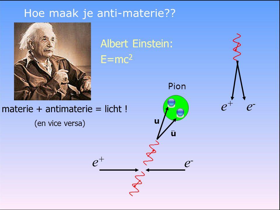 e+ e- e+ e- Hoe maak je anti-materie Albert Einstein: E=mc2