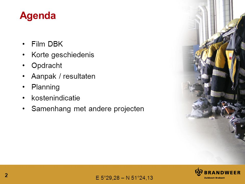Agenda Film DBK Korte geschiedenis Opdracht Aanpak / resultaten