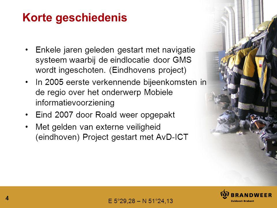 Korte geschiedenis Enkele jaren geleden gestart met navigatie systeem waarbij de eindlocatie door GMS wordt ingeschoten. (Eindhovens project)