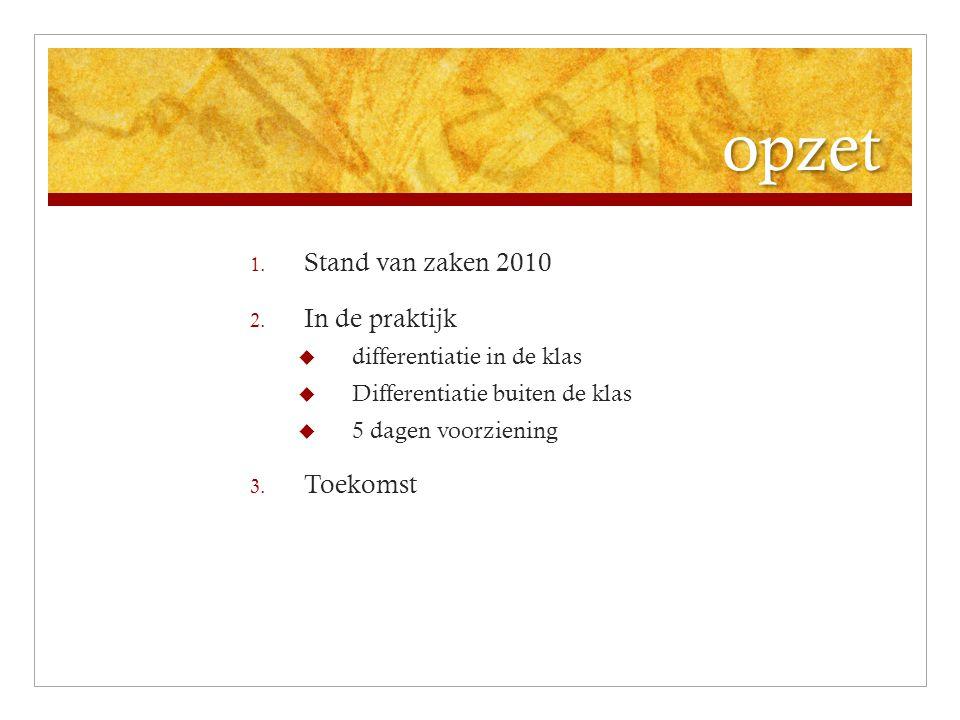 opzet Stand van zaken 2010 In de praktijk Toekomst