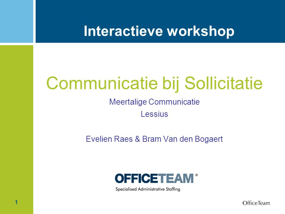 Interactieve workshop
