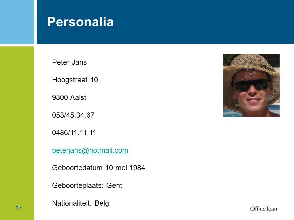 Personalia Peter Jans Hoogstraat 10 9300 Aalst 053/45.34.67