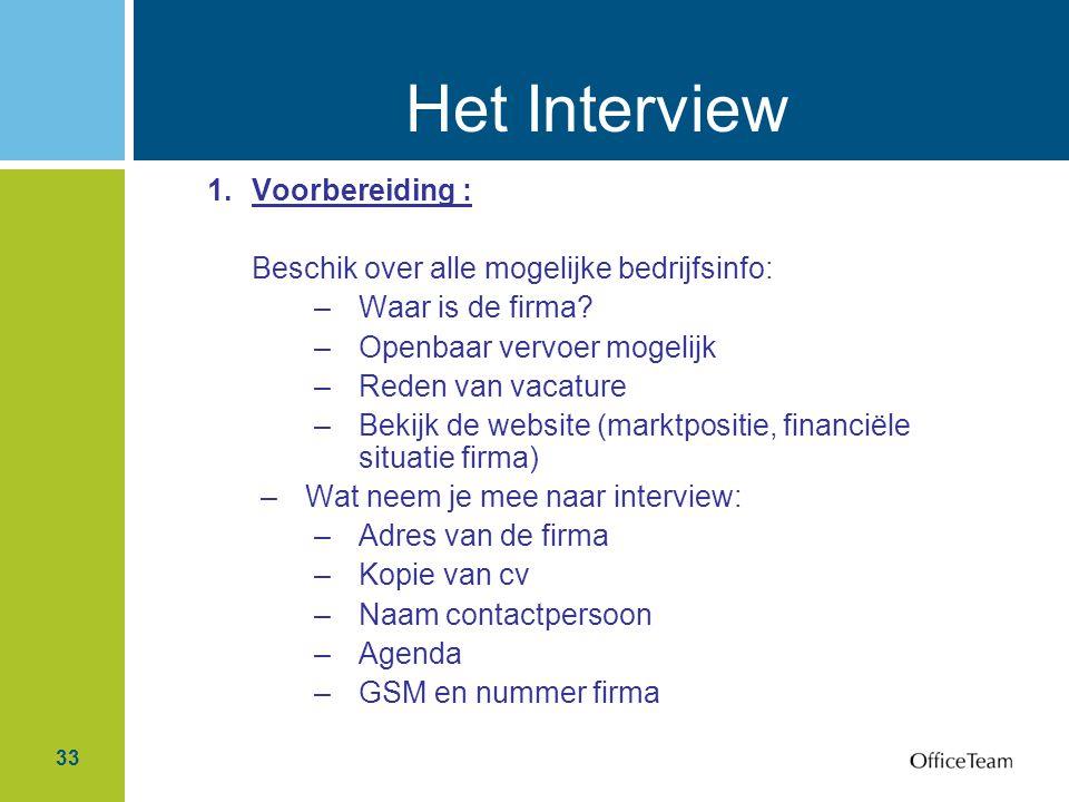 Het Interview Voorbereiding :