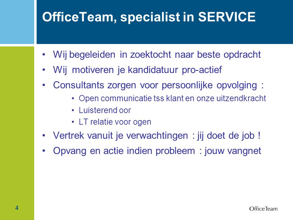 OfficeTeam, specialist in SERVICE