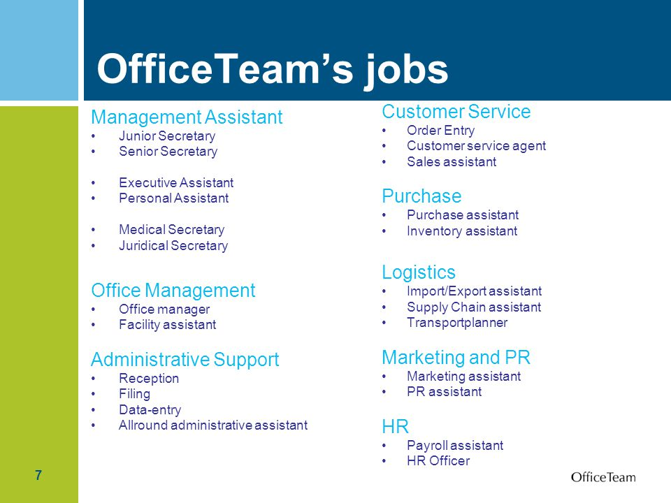 OfficeTeam's jobs Customer Service Management Assistant Purchase