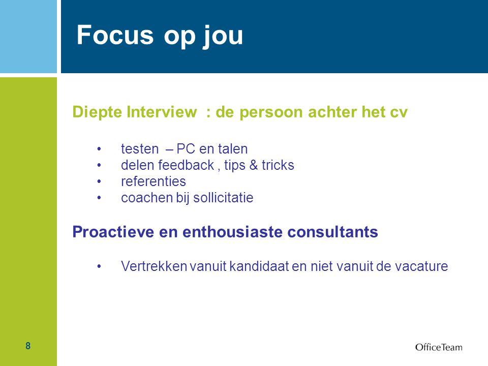 Focus op jou Diepte Interview : de persoon achter het cv