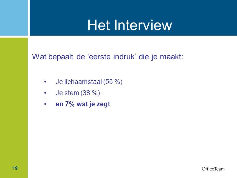 Het Interview Wat bepaalt de 'eerste indruk' die je maakt:
