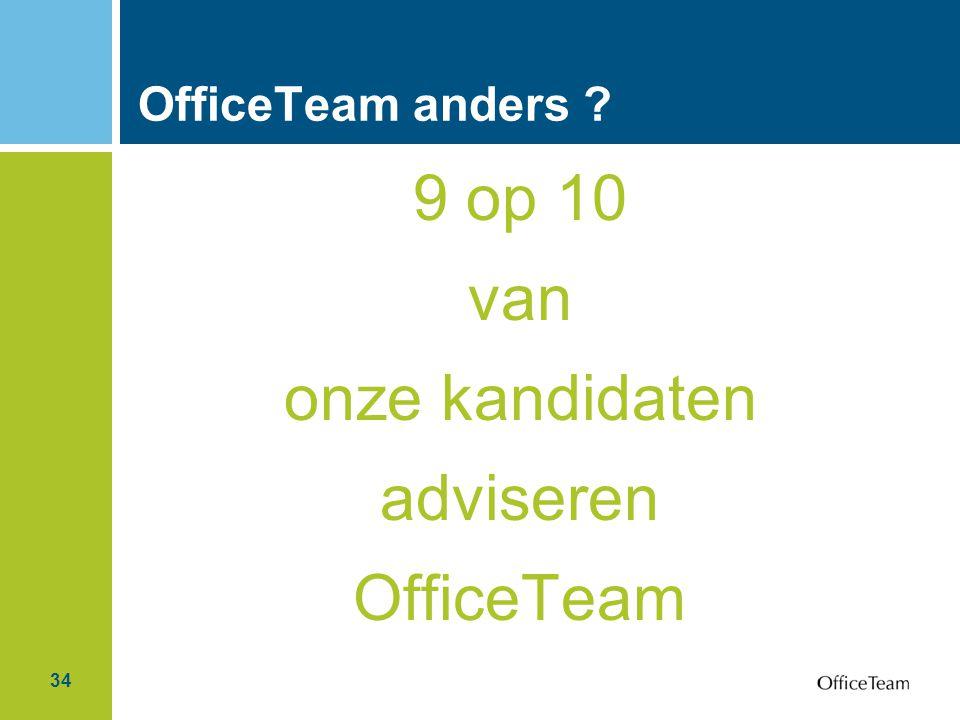 9 op 10 van onze kandidaten adviseren OfficeTeam OfficeTeam anders