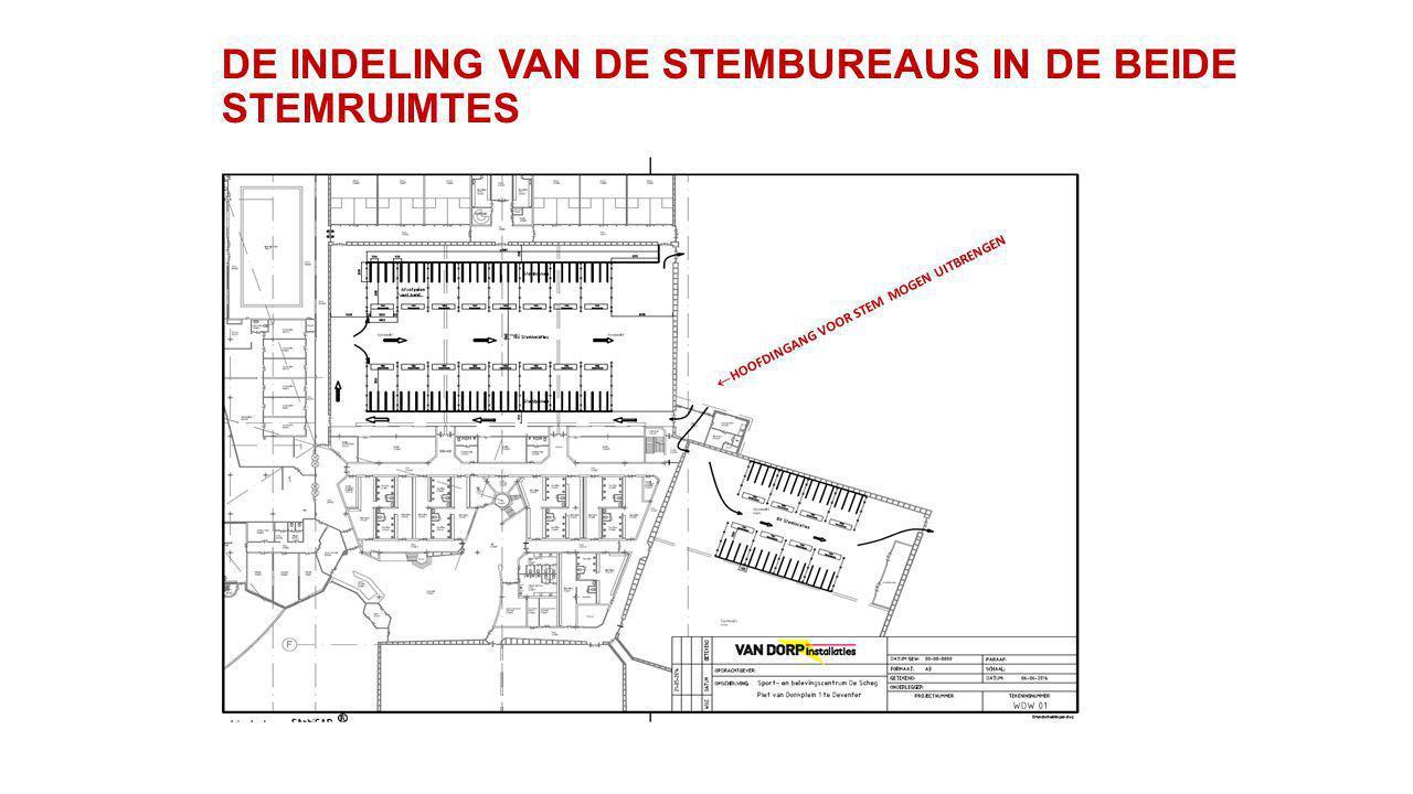 DE INDELING VAN DE STEMBUREAUS IN DE BEIDE STEMRUIMTES