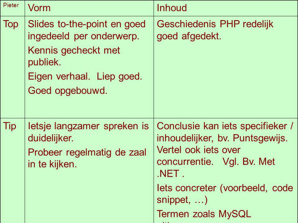 Slides to-the-point en goed ingedeeld per onderwerp.