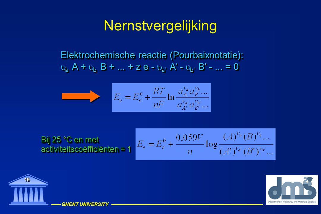 Nernstvergelijking Elektrochemische reactie (Pourbaixnotatie):
