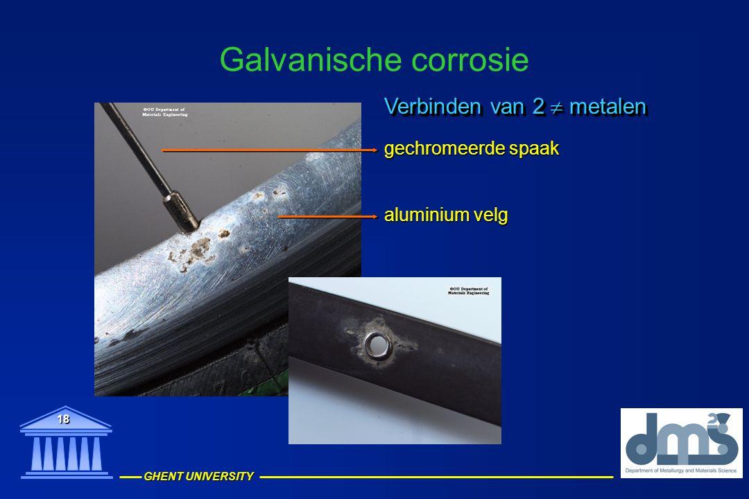 Galvanische corrosie Verbinden van 2  metalen gechromeerde spaak