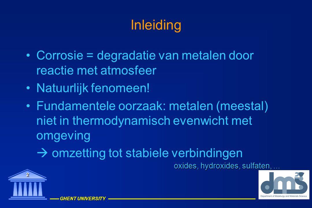 Inleiding Corrosie = degradatie van metalen door reactie met atmosfeer