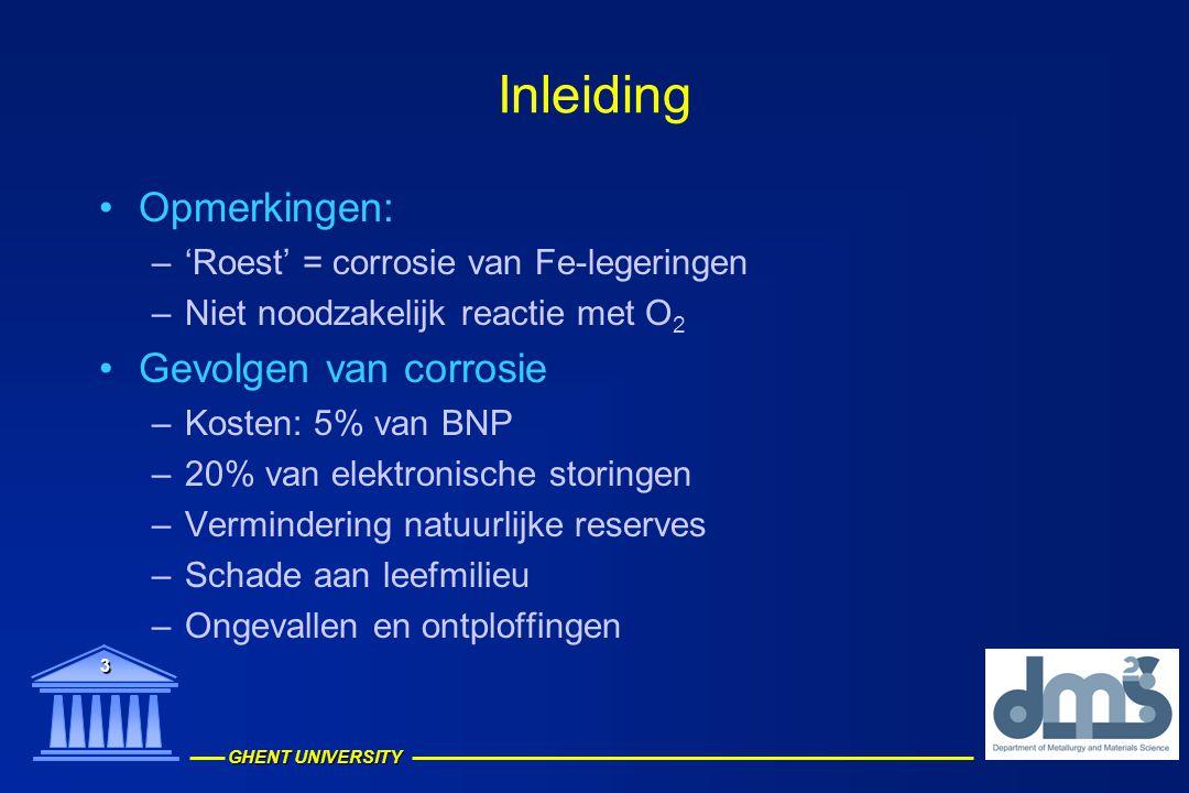 Inleiding Opmerkingen: Gevolgen van corrosie
