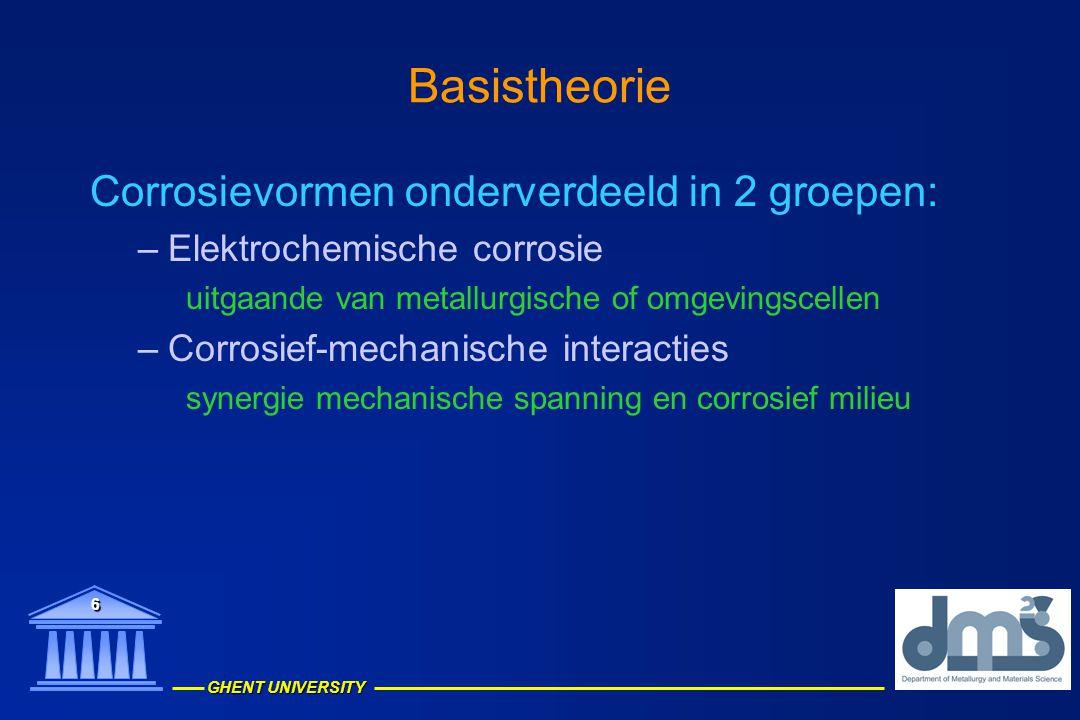Basistheorie Corrosievormen onderverdeeld in 2 groepen: