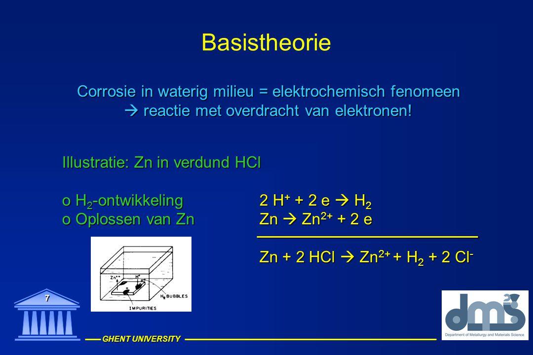 Basistheorie Corrosie in waterig milieu = elektrochemisch fenomeen