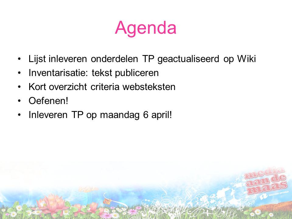 Agenda Lijst inleveren onderdelen TP geactualiseerd op Wiki
