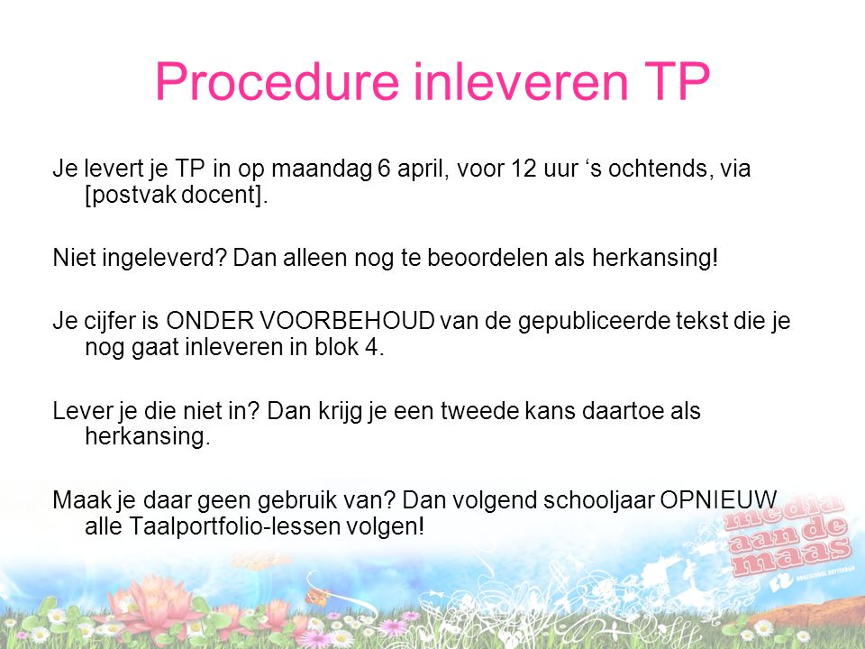 Procedure inleveren TP