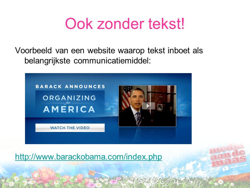 Ook zonder tekst! Voorbeeld van een website waarop tekst inboet als belangrijkste communicatiemiddel: