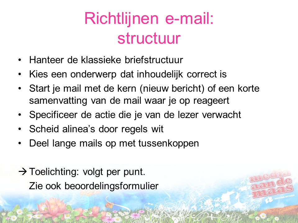 Richtlijnen e-mail: structuur